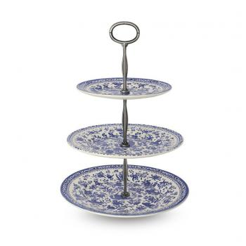 3 Tier Cake Stand, Burleigh Blue Regal Peacock