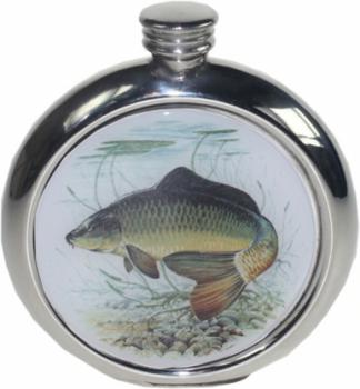 6oz Round Picture Flask, Fish