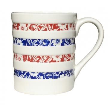 Blue/Red Calico Hooped Mug