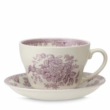 Breakfast Cup & Saucer, Burleigh Plum Asiatic Pheasants