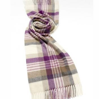 Bronte by Moon Check Stole, Newsham Lilac