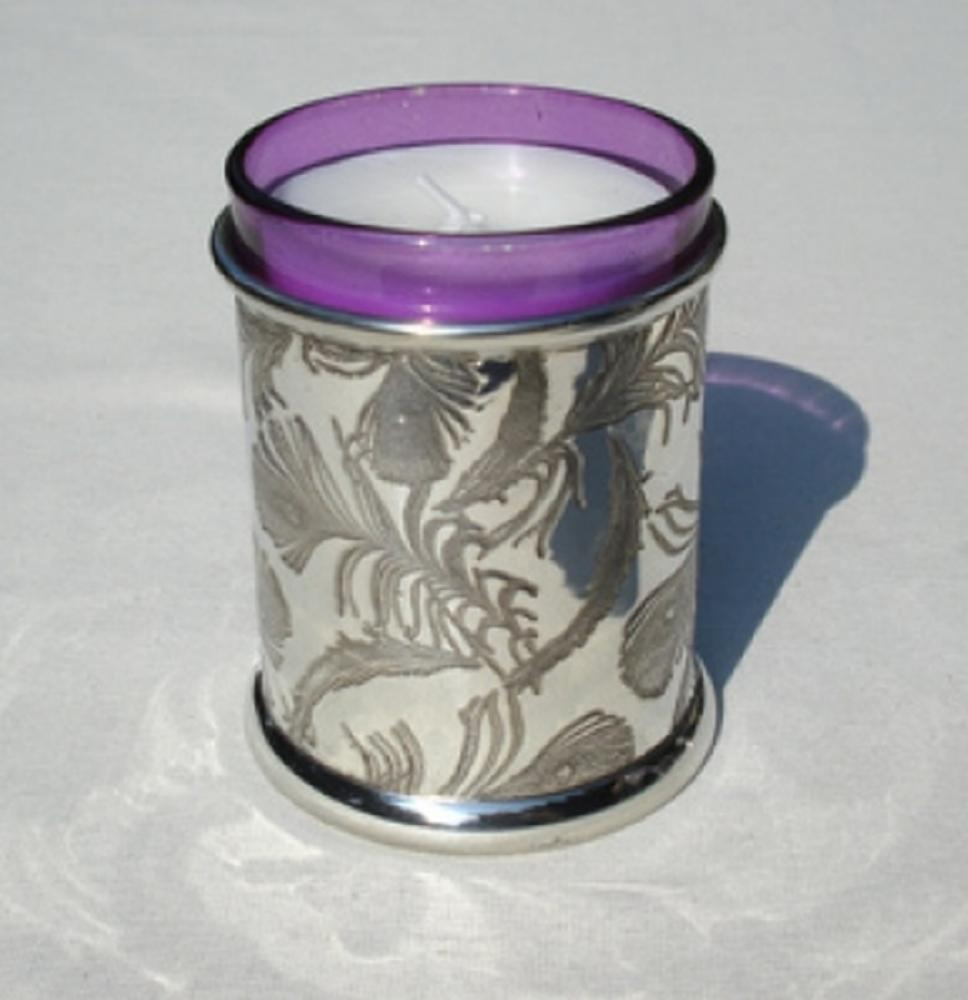 Pewter Votive Candle, Peacock
