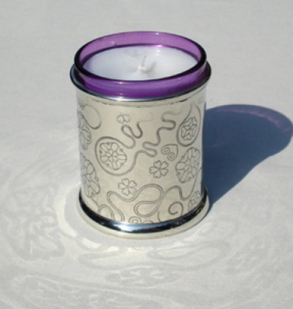 Pewter Votive Candle, Rose